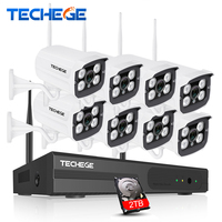 Techege 8CH 1080P NVR WIFI Surveillance Kit Plug And Play 720P HD 1 0MP Wireless Waterproof