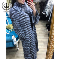 2018 New Women Long Real Sliver Fox Fur Coat Stand Collar Pelt Fur Natural Coat Women Fox Jacket Genuine Winter Fashion FC 141