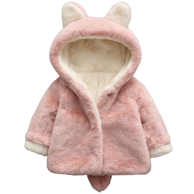 Special Offers Toddler Child Winter Jacket For Girls Baby Cute Rabbit Ears Hooded Coat Infant Clothes Outerwear Kids Clothing For 1 2 3 4Y Boys