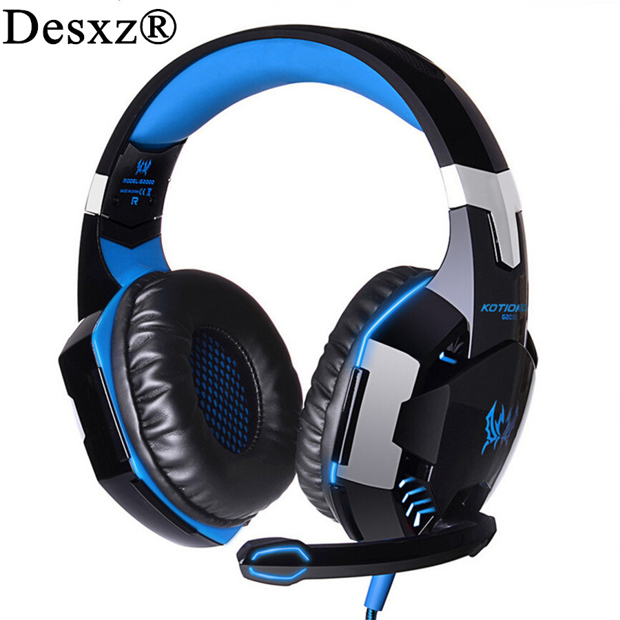 Desxz Stereo Gaming Headphones Best casque Deep Bass Game Earphone Headset with Mic LED Light for PC Gamer for computer kotion each g2100 gaming headset stereo bass casque best headphone with vibration function mic led light for pc game gamer