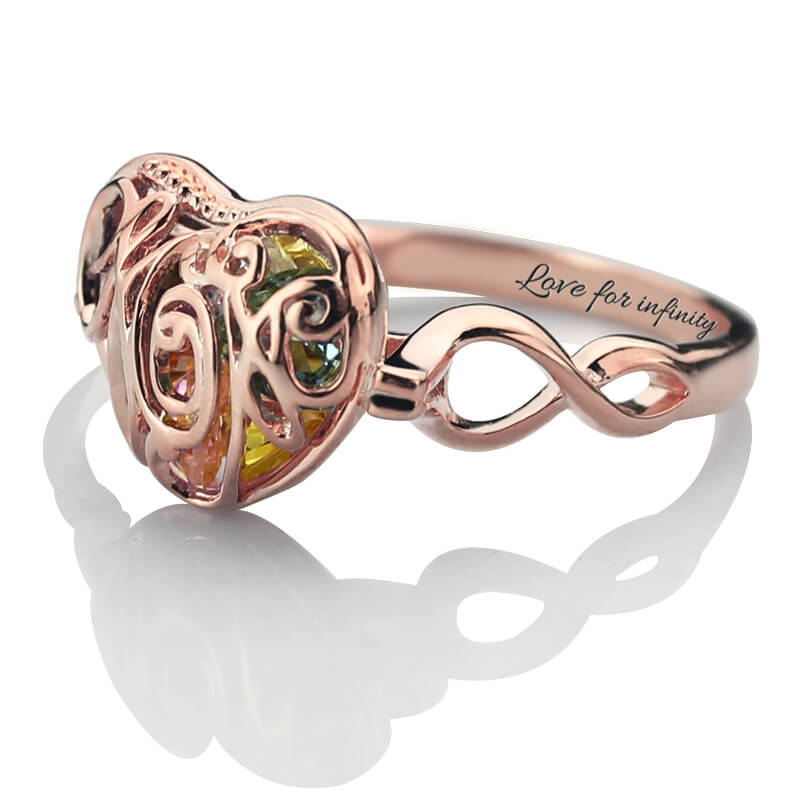 AILIN Enjaulado Coração das Mães Birthstone Birthstone Anel Nome Gravado  Infinito Anel Cor de Rosa de Ouro Anel de Presente para a Mãe em Anéis de  Jóias ... 02c2a3c42e
