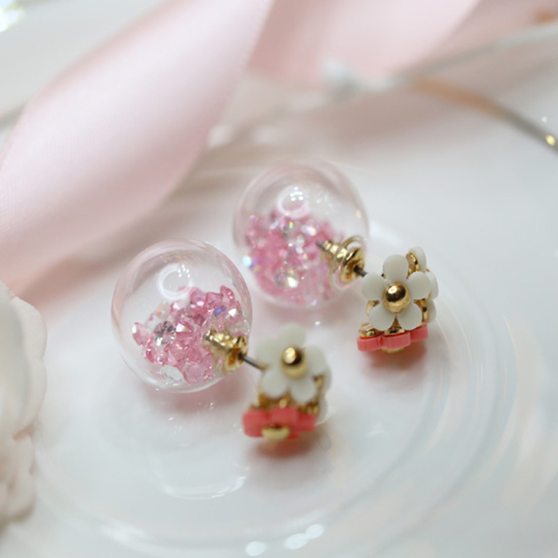 Designer handmade glass balls balls Zircon Earrings