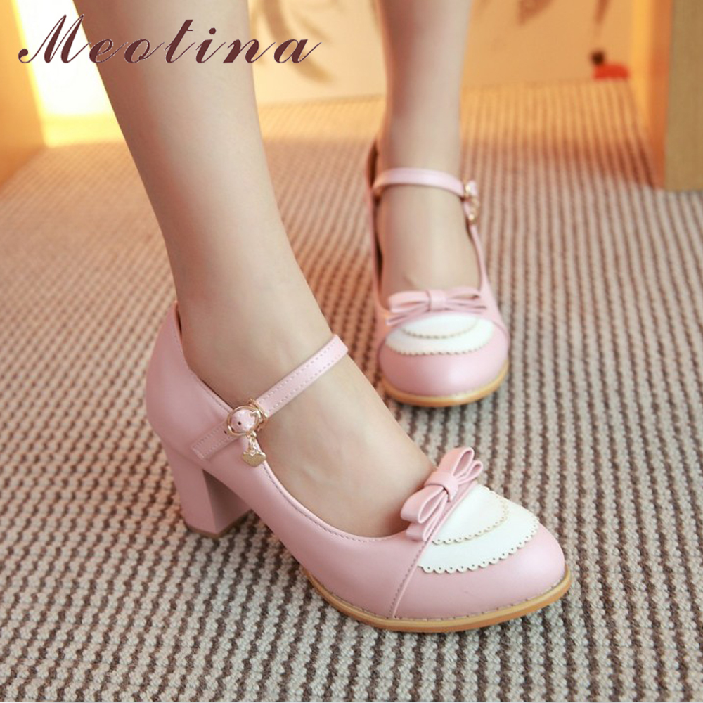 Meotina Mary Jane Shoes Women High Heels Pumps Big Size 9 45 Bow Shoes Thick High Heel Casual Ladies Pumps Pink Chaussures Femme