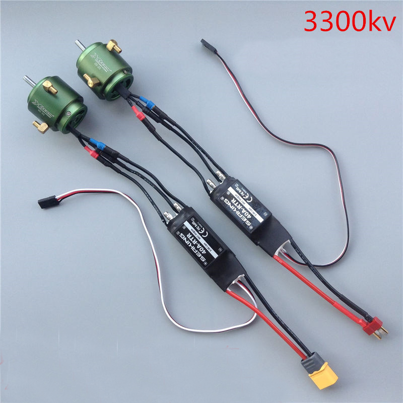 1Set 2835 Brushless Motor Kit 3300KV 4.0mm Shaft Motor/20-25 Water-cooled Jacket/ Backward Forward 40A Dual-way ESC for RC Boats