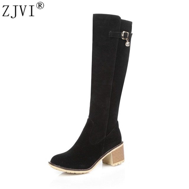 ZJVI Nubuck knee high boots women autumn Winter Elegant fashion suede 2018 womens thigh high boots Female woman high heels shoes