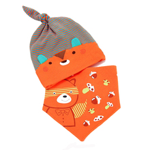 Mother Nest Baby Caps & Bibs High Quality Cotton Baby Hat Cartoon Printed Scarf Kids Hat Autumn Winter Children Bibs Hats & Caps