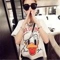2017 Blusas Blouse Women Tops Character Graphic Duck Letter White Shirt  Korean Style Leisure Women Clothing Vetement Femme