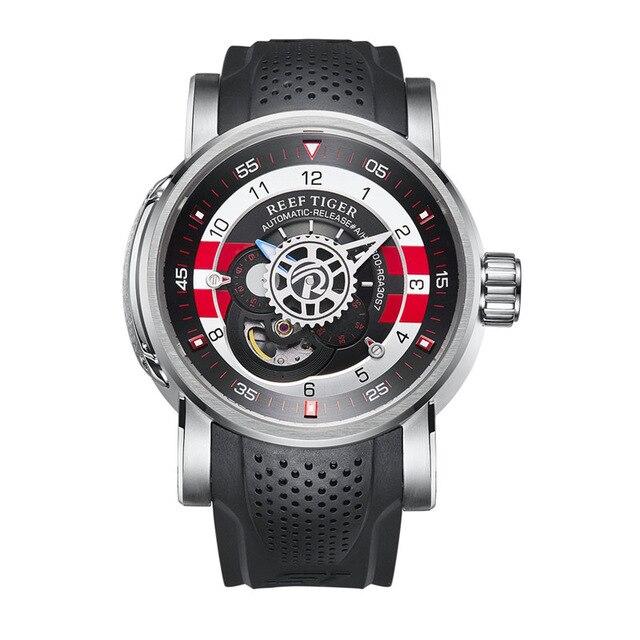 Récif tigre RGA30S7 hommes nouveau Design évider Concept cadran 100 M étanche automatique auto-vent mécanique montre-bracelet-Silve