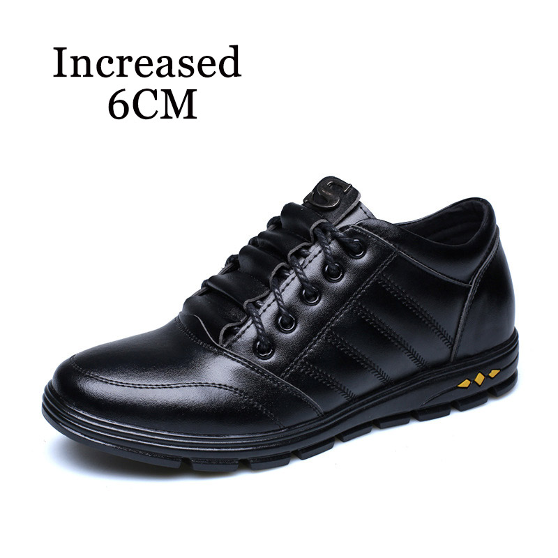 Men's Genuine Leather Casual Shoes Top Height Increasing Oxfrods Man Elevate 6CM Shoes Flat Spring Breatable Male Footwear 37-43