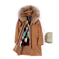 Women S Real Fur Coat Mink Fur Lining With Big Raccoon Fur Hood Large Size Natural