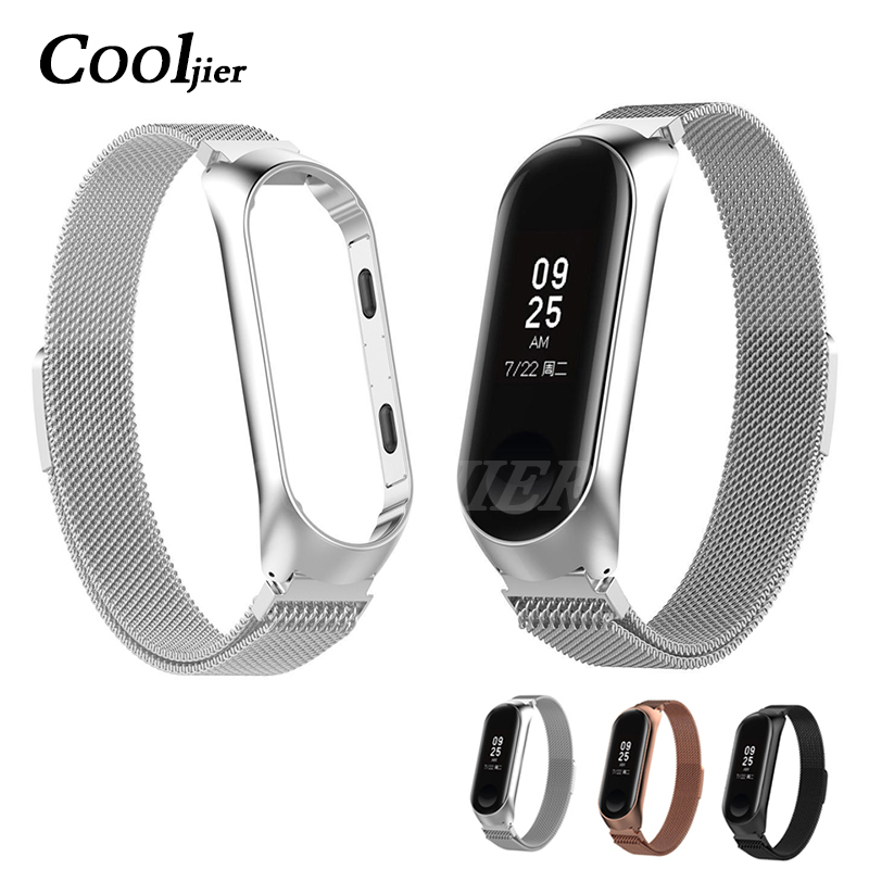 COOLJIEmi band 3 Metal Stainless Steel Strap wrist strap Stainless Steel Bracelet Wristbands MiBand 3 strap for Xiaomi mi band 3COOLJIEmi band 3 Metal Stainless Steel Strap wrist strap Stainless Steel Bracelet Wristbands MiBand 3 strap for Xiaomi mi band 3