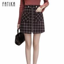 4b7cf73e6fdd46 FATIKA 2017 Herbst Winter Frauen Engen Plaid Wolle Rock Weibliche Mode  Weibliche Hohe Taille Reißverschlüsse Front Taschen Mini .