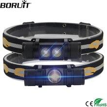 BORUiT 1000LM XM-L2 светодио дный фар Мини Белый свет налобный фонарь USB Зарядное устройство 18650 Батарея фар Отдых на природе Охота фонарик