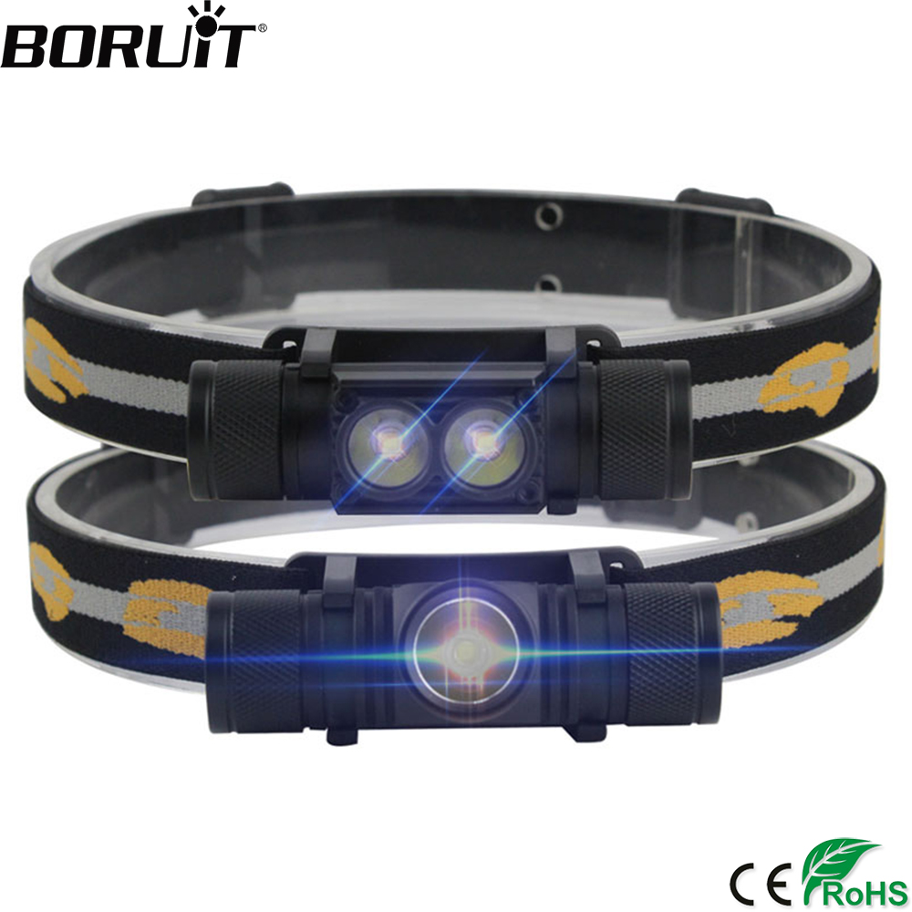 Discount  BORUiT XM-L2 LED Mini Headlamp High Power 1000lm Headlamp 18650 Rechargeable Head Torch Camping Hun