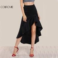 COLROVIE Siyah Fırfır Hi-Lo Uzun Etek Yüksek Bel Zarif Kadınlar Ince A Hattı Maxi Etekler 2017 Moda Yeni Draped Parti Kulübü Etek