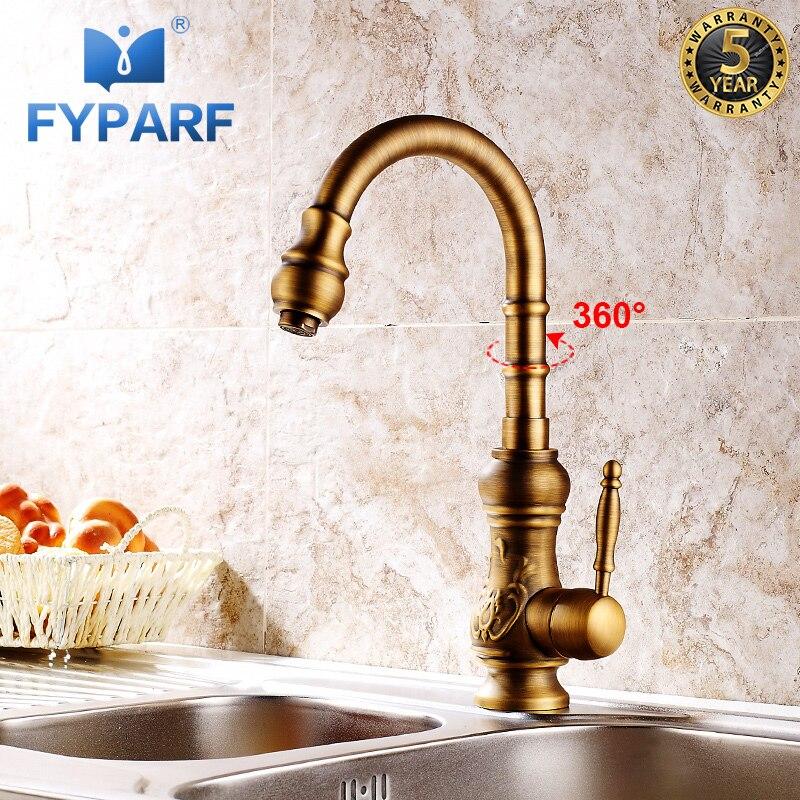 FYPARF Vintage cuisine mélangeur robinet 360 degrés pivotant Antique en laiton Art sculpté cuisine robinet d'eau chaude froide grue Antique robinets