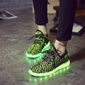 Casual Women Shoes Breathable Fly Weave Led Shoes Couples LED Lights USB Charging Colorful Shoes Unisex Trainers For Adults