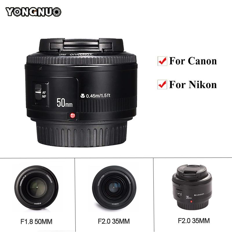 YONGNUO YN35mm F2.0 AF/MF Obiettivo A Fuoco Fisso, YN50mm AF F1.8/EF Lens per Nikon F Mount D7100 D3200 D3300 D3100 D5100 D90 per Canon