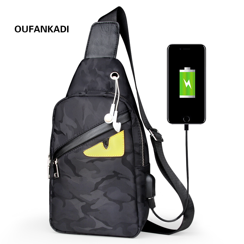Oufankadi New Male Chest Bag Fashion Leisure Waterproof Man Oxford Cloth  Korea Style Messenger Shoulder Bag For Teenager Bag-in Waist Packs from ... 40d53a553e184