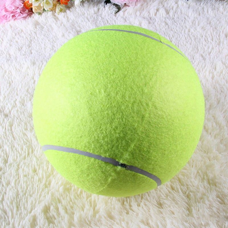 24CM Giant Tennis Ball Pet Dog Chew Toy Big Inflatable Tennis Ball Signature Mega Jumbo Dog Toy Outdoor Cricket PetsToys D9440