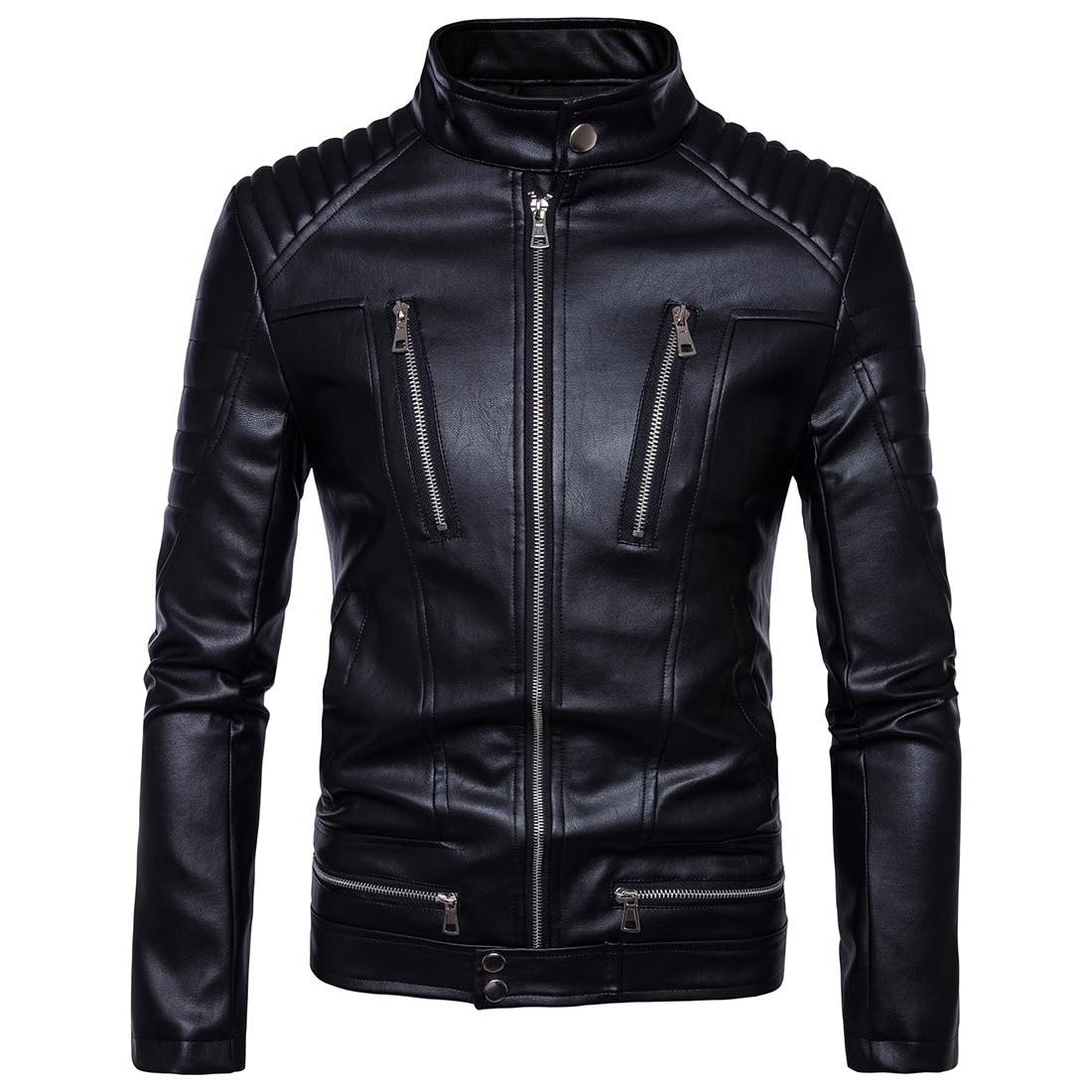 Mens punk multi zipper motorcycle Leather jacket plus PU leather clothing Male costumes jacket