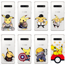 Pokemons Pikachus soft silicone TPU back cover for samsung Galay M10 M20 S10 S10Lite S6 S7 S8 S9 S10Plus S6Edge S7Edge