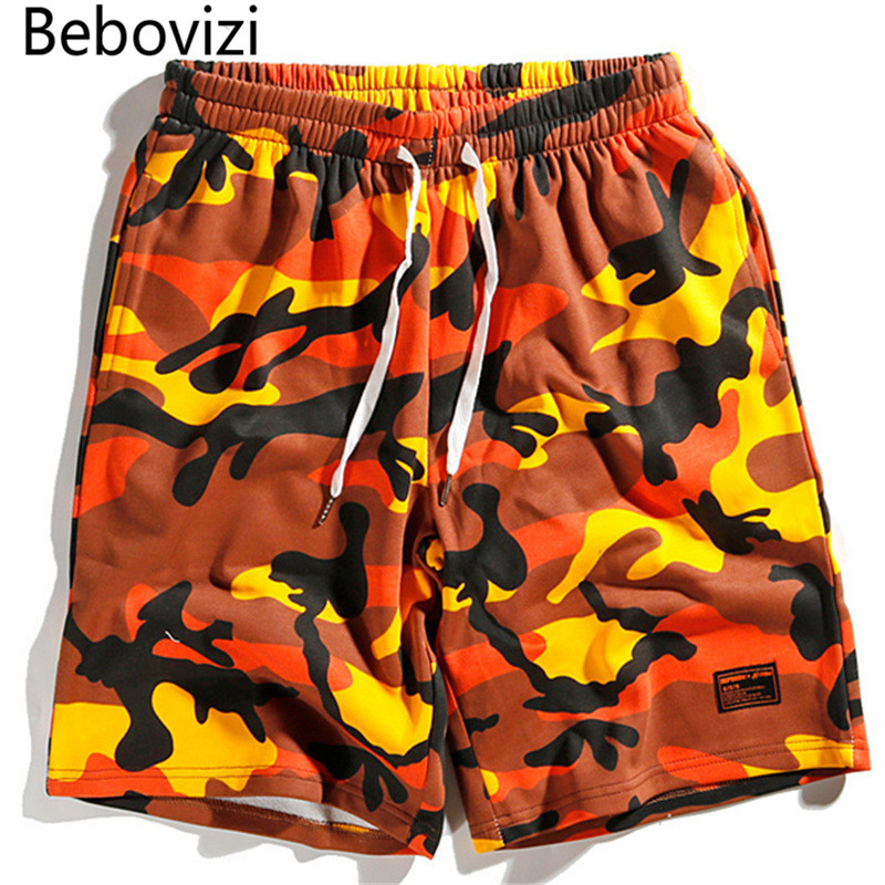 Bebovizi Brand Summer Gray Camo Casual Shorts Hip Hop Unisex Men Women Joggers Cotton Loose Streetwear Camouflage Sweatpants