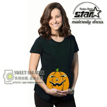 2016 Plus Size Summer Maternity Clothes Women Pregnant Cotton T Shirts Halloween Pumpkin Print Tops Tees Summer Mommy Shirt