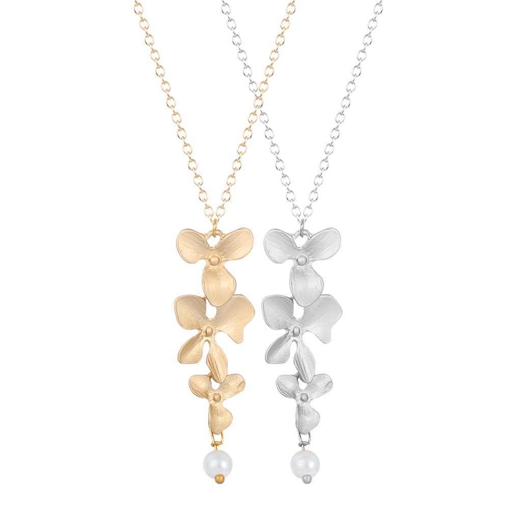 Kwiat orchidei z symulowane Pearl naszyjnik wisiorek długi łańcuch obroża naszyjnik dla kobiet Chic Party prezent biżuteria