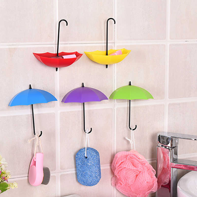 3Pcs/Lot Colorful Umbrella Shaped Wall Hooks Creative Hanger Wall Decorative Holder Wall Hook For Kitchen Bathroom Accessories
