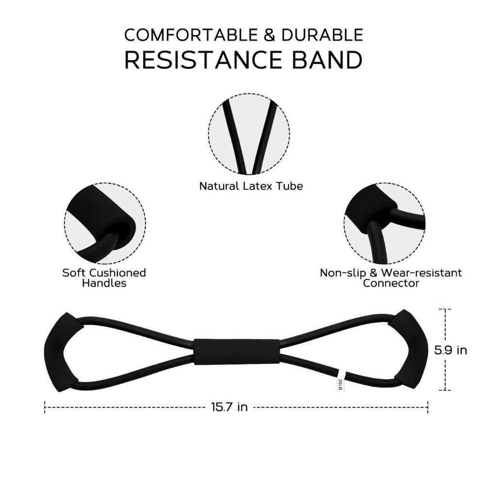 8 słowo ekspander klatki piersiowej guma do Fitness gumowe pętli odporność na pasek elastyczny sprzęt Fitness Stretch joga trening Crossfit