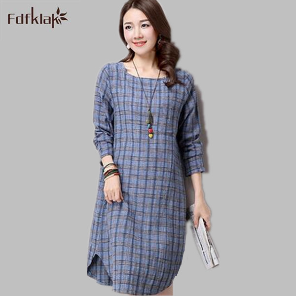 c18e18ed12 Women dress summer casual 2017 new long sleeve linen dresses large size plaid  loose dress ladies spring clothes vestidos Q911
