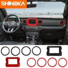 SHINEKA Interior Mouldings for Jeep Wrangler JL 2018 Car Accessories interior Vent Cover Navigation Decoration ABS Sticker