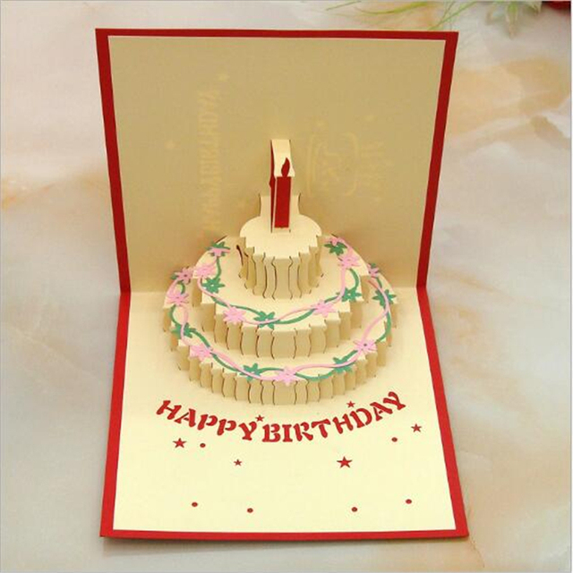 Dc02 3d Pop Up Handcrafted Origami Birthday Cake Candle Design