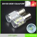 750LM BA15S ПРИВЕЛО Стоп-сигнал 5630 12SMD + 5 Вт Чип, P21W Дневные Ходовые Огни 1156 1141 Противотуманные фары 12 В 1003 7506 Автомобилей Обратный Лампы
