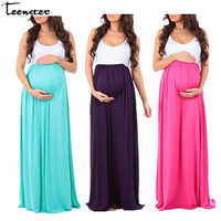 Teenster Maternity Clothing Maternity Dresses Sleeveless Pregnancy Dress Vestido Patchwork Large Pendulum Gravida Clothes