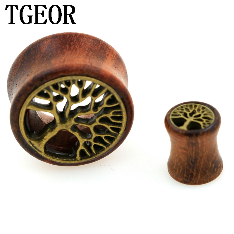 New Hot wholesale 70pcs gauges with surface inlay bronze tree original wood double flare ear plug