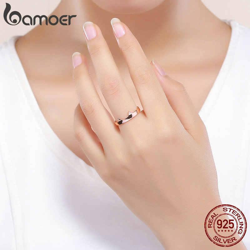 BAMOER 925 стерлингового серебра кошачьи уши розовое животное золотого цвета уши форма открытая лапа палец кольца вечерние свадебные украшения SCR387-3