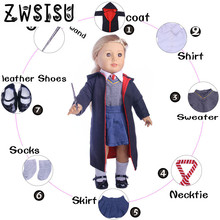 Doll suit, 8 coats + shirt + tie + denim skirt + magic wand + Shoes + socks 18 inches American girl doll accessories n1063