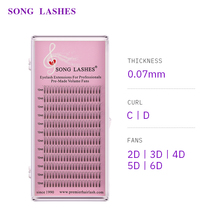 SONG LASHES 0.07 thickness premade volume fans premade fan Pre-fanned 3D  long stem Volume Lashes Eyelash Extension premade fans цена