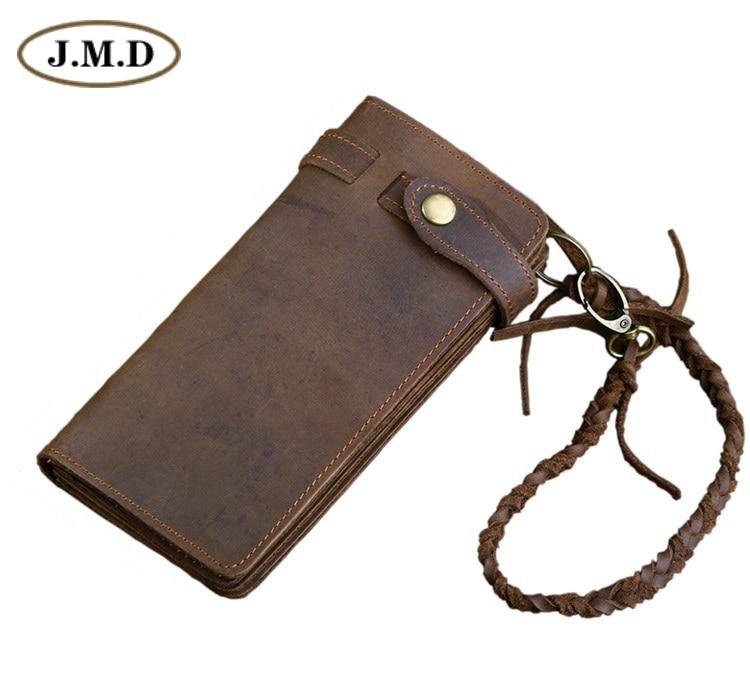 J.M.D Free Ship Genuine Crazy Horse Leather Vintage Cowboy Men's Wallets Hand Bag Clutch Purses # 8031R crazy for the cowboy