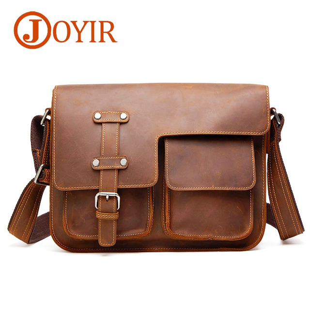 077acce539 JOYIR New Crazy Horse Genuine Leather Black Men s Crossbody Bags Briefcase Vintage  Messenger Bag Men s Shoulder Travel Bag 6302