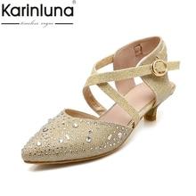 karinluna large size 34-43 pointed toe bling upper women shoes woman elegant comfotable summer bride wedding sandals woman