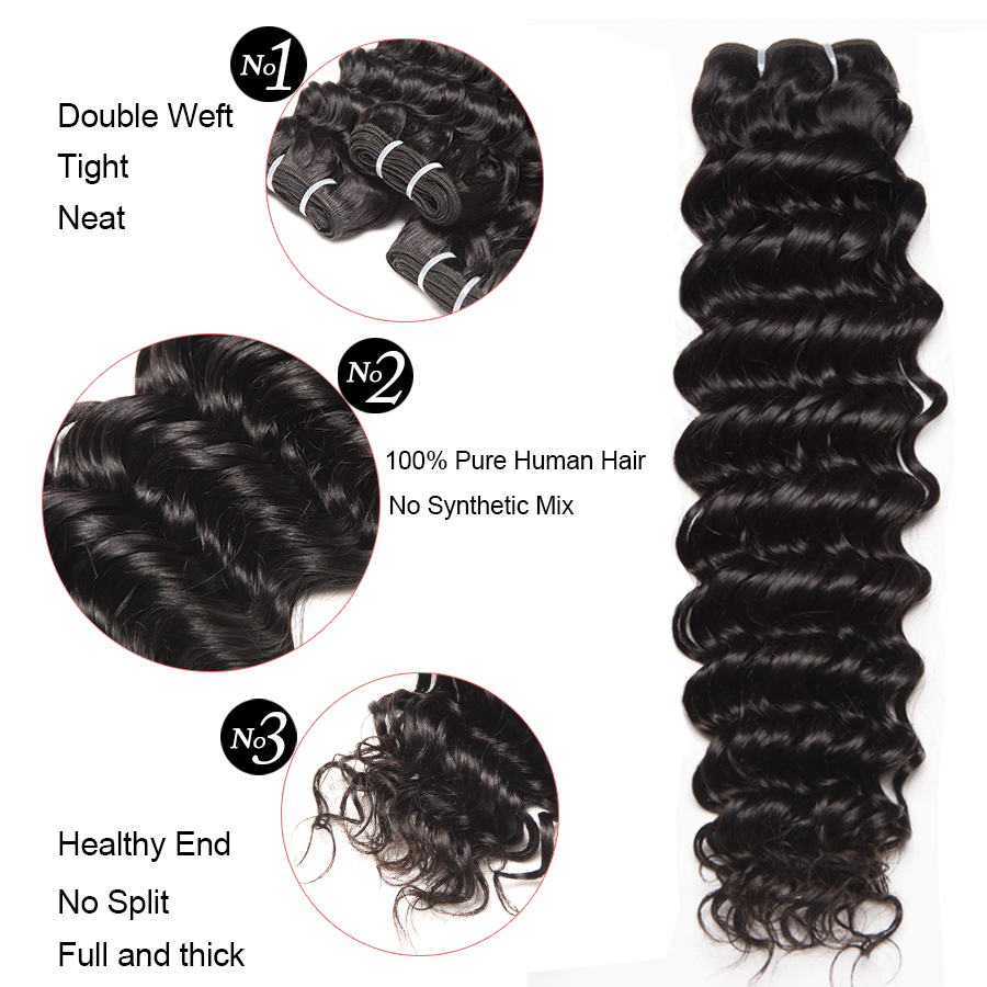 Deep Wave Human hair 3 Bundles With Closure Brazilian Hair Weave Bundles ALIPOP Lace frontal Closure With Baby Hair Non Remy (5)