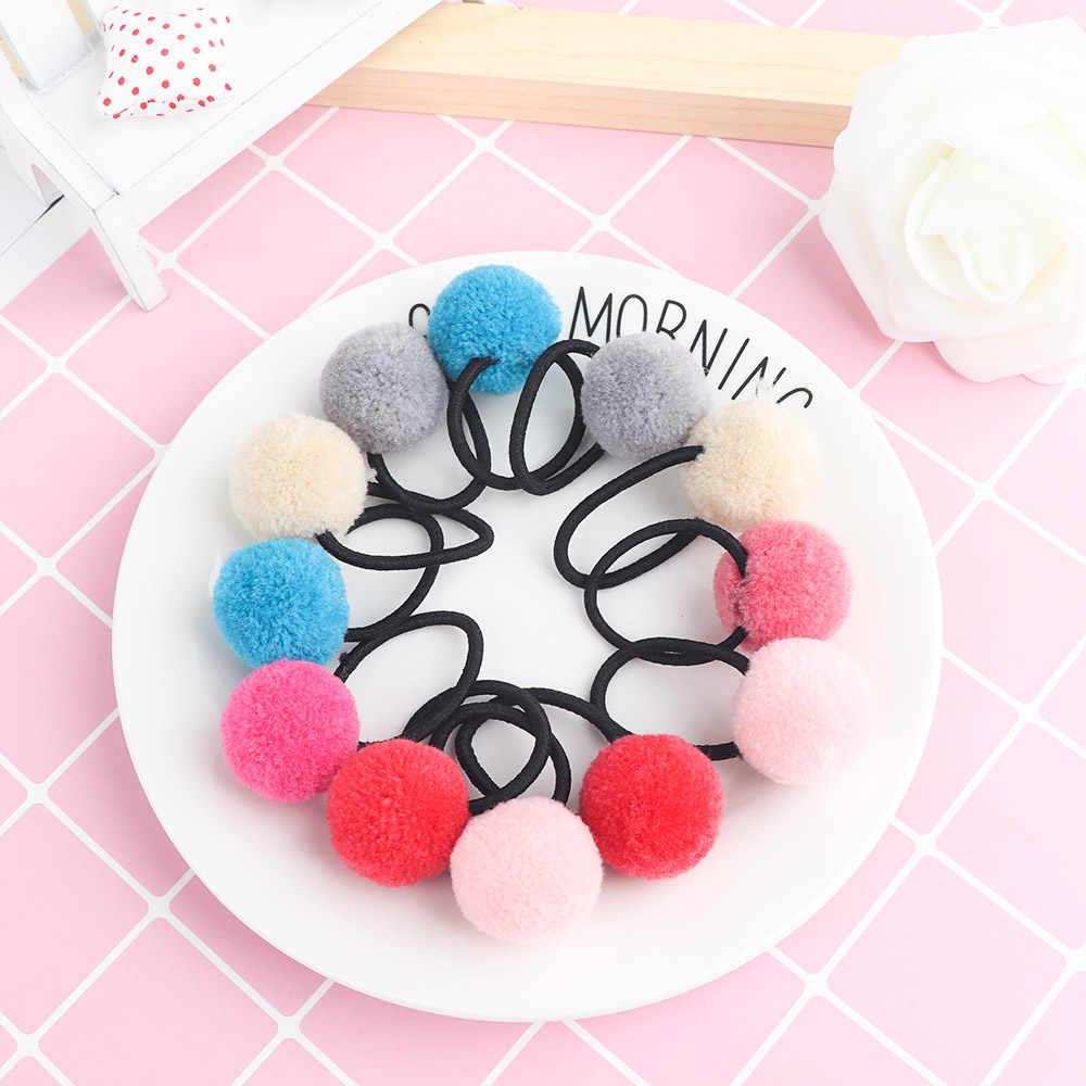 4 pçs/2pc/1pc bebê criança acessórios para o cabelo headwear mini bola de borracha headbands menina crianças cor sólida pompon goma elástico hairband