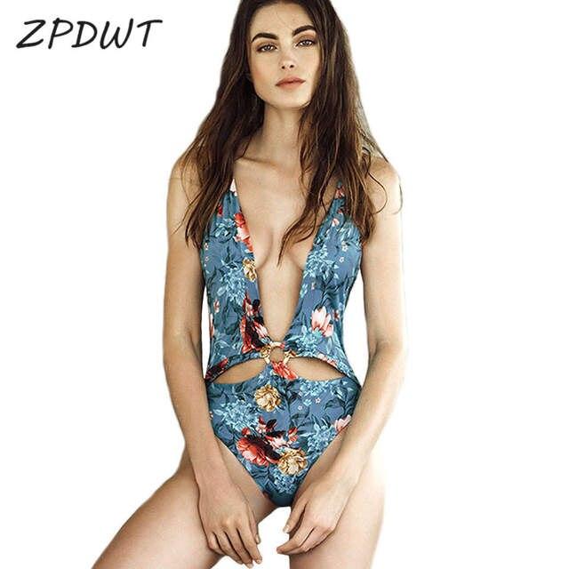 83bb11d093c31 ZPDWT Deep V Neck Swimsuit One Piece Bathing Suit Floral Swimwear Women Cut  Out Monokini Sexy Trikini Summer Bodysuit Maillot