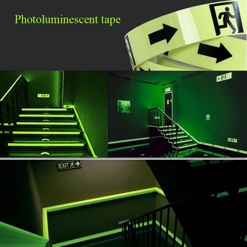 Купить с кэшбэком 5CM X 5M Glow Tape Self-adhesive Sticker Removable Luminous Tape Fluorescent Glowing Dark Striking Warning Tape