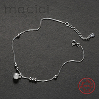 925 Sterling Silver Anklets 925 Sterling Silver Beach Accessories Bead Foot Decoration Chain Anklet Bracelets for Girls DL210