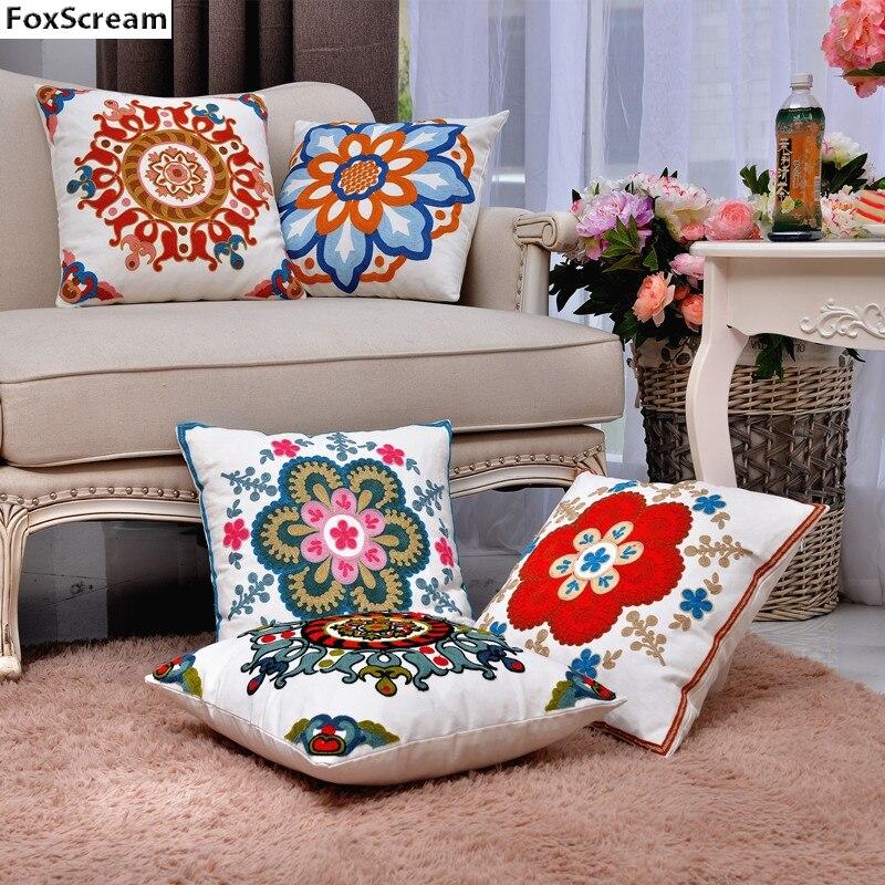 Floral Bordado Almofadas Cobrir Caso Travesseiro Bordado Vermelho Flor Decorativa Lance Fronha Home Decor para o sofá 45x45 cm