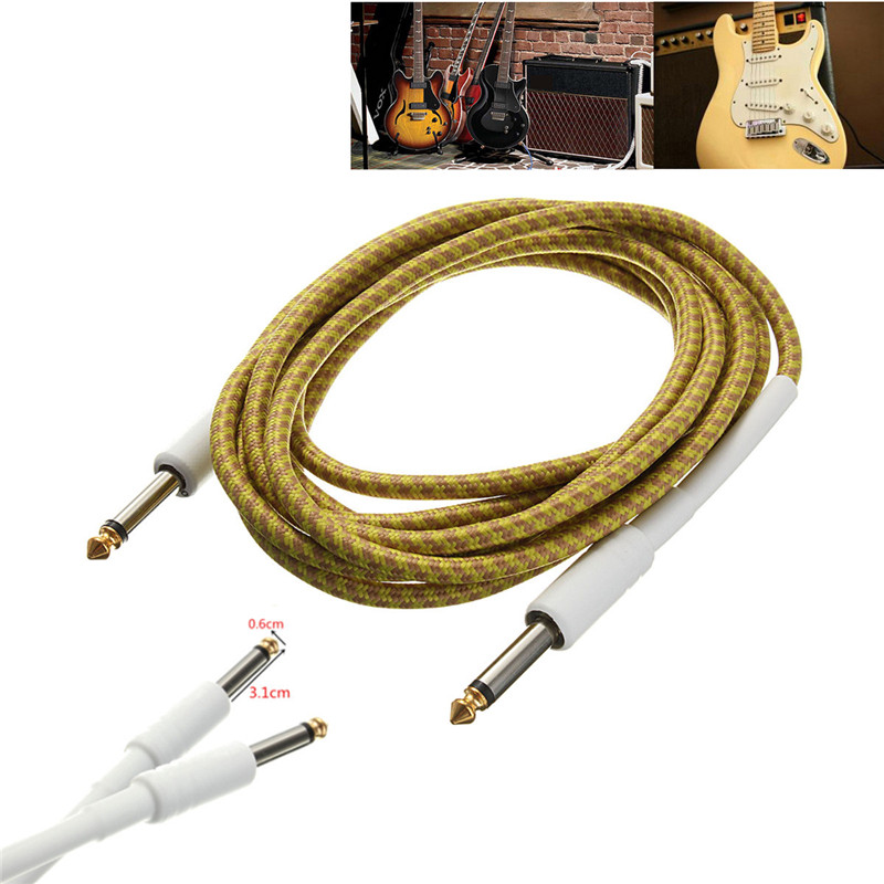 Guitar Cable 3M/10FT Guitar Cable Cord Yellow Wove Guitar Lines Golden Tipped Plugs Connectors For Bass Guitar Parts Accessories
